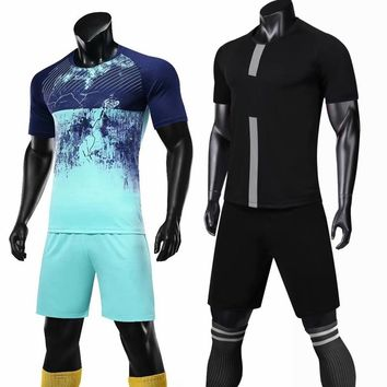 Professional blank custom Men/kids Boys Soccer Jerseys Set Uniforms clothes running Kit Breathable Football Shirt Tracksuit