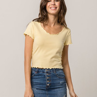 GOOD LUCK GEM Lettuce Edge Light Yellow Womens Tee