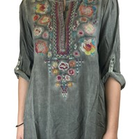 Andree by Unit Embroidered Half Button Top Olive Green