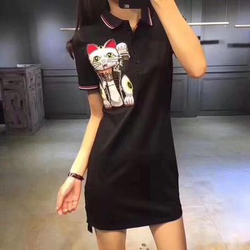 """Gucci"" Fashion Casual Embroidery Lucky Cat Lapel Short Sleeve Polo Shirt Dress"