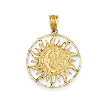 14k Yellow Gold Polished Sun with Moon & Star Charm