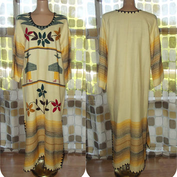 Vintage 70s Guatemalan Ethnic Embroidered Wool Blanket Caftan Maxi Dress Folk Art Crewel Needlework
