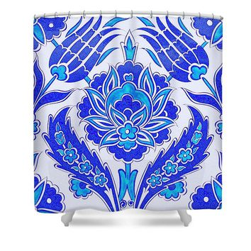 An Ottoman Iznik Style Floral Design Pottery Polychrome, By Adam Asar, No 36 S - Shower Curtain
