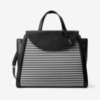 Kate Spade Saturday The Canvas/leather Large A Satchel In Crosswalk Stripe