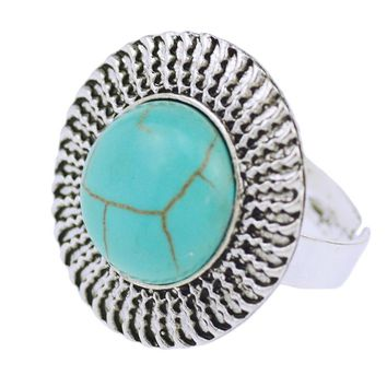 Tibetan Silver Vintage Turquoise Adjustable Ring for Men & Women