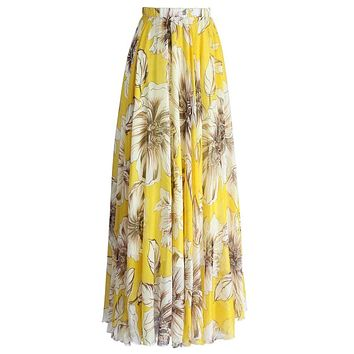 Chic Yellow Blossoming Floral Chiffon Maxi Skirt