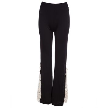 Chic Mid Waist Lace Spliced Flare Pants for Women