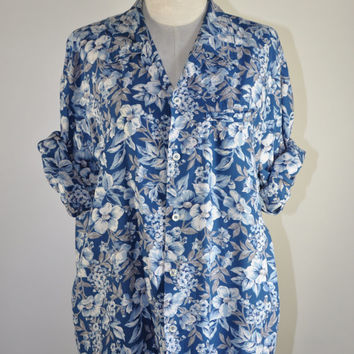 90s blue rayon slouchy camp shirt / vintage floral print button down shirt / Blue Garden shirt