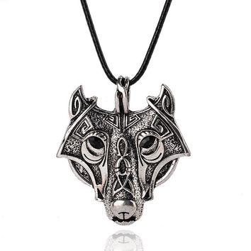 Norse Vikings  Wolf Head Necklace