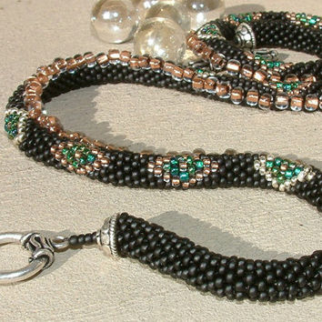 Bead Crochet Necklace Black Diamonds in black silver by lanmom