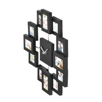 VonHaus 12 Picture Aluminum Photo Frame Wall Clock (Black)