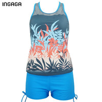 INGAGA 2017 Tankini Brand Swimwear Women Mesh Sexy Two Pieces Swimsuit Padded Straight Bathing Suits