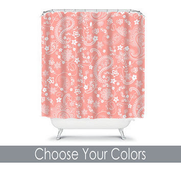 Shower Curtain CUSTOM You Choose Colors Coral Paisley Floral Swirl Bathroom Bath Polyester Made in the USA
