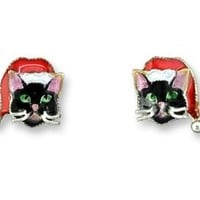 Holiday Cat Silver and Enamel Earrings