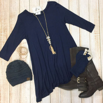 Simplicity is Key Tunic Dress: Navy