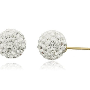 14k Yellow Gold with White 6mm Preciosa Crystals Stud Earrings