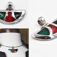 Vintage 950 Silver & Poured Glass Modernist Pendant, Green, Red, Black, Wedge Shaped, Inlaid, Domed, Hinged, Chunky, Unique! #c191