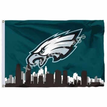 Philadelphia Eagles With Philadelphia City Skyline Flag 3ft X 5ft Polyester NFL Philadelphia Eagles Banner Flying Size N