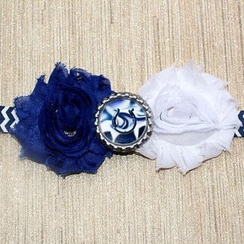 NFL Indianapolis Colts inspired headband- perfect for football season!  Colts Baby Headband