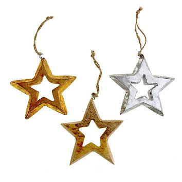 Hanging Wooden Distressed Star Cut-Out Christmas Ornament, 4-Inch