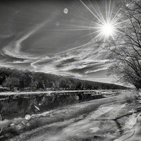 "B&W Photo Sun Rays Glare Delaware River Ice 8x12"" print"