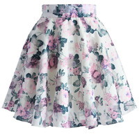Peonies and Frills Organza Skater Skirt  Multi
