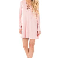 Blush Tunic Dress with Criss Cross V Neck Detail
