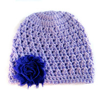 Baby Beanie Hat Purple Crochet 3-6 Months