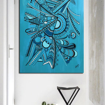 "Original abstract painting on canvas art. 30x40"" Geometric with blue, turquoise. Big painting. Blue painting. Modern wall art. Acrylic."