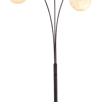 adesso spheres arc 3light floor lamp with ricepaper shades