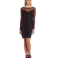 Calvin Klein Sheer Illusion Ribbed Dress - Black