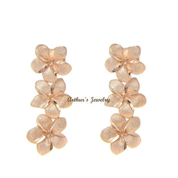 SOLID 14K ROSE GOLD 3 HAWAIIAN 7MM PLUMERIA FLOWER DANGLE POST EARRINGS