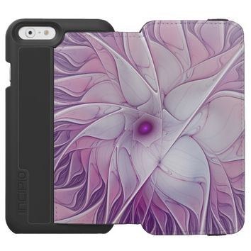 Beautiful Pink Flower Modern Abstract Fractal Art iPhone 6/6s Wallet Case
