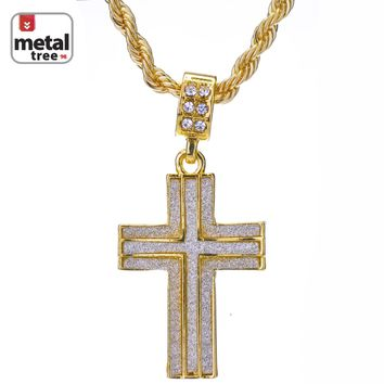 "Jewelry Kay style Men's Fashion Iced Out Glitter Cross 24"" 4 mm Rope Chain Pendant Necklace"
