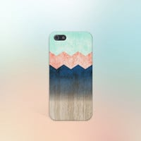 Coral x Mint x Blue x Wood Chevrons Design Case for iPhone 5 iPhone 5S iPhone 4 iPhone 4S and Samsung Galaxy S5 S4 & S3