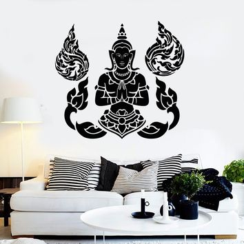 Vinyl Wall Decal Buddha Meditation Yoga Thai Thailand Stickers Unique Gift (ig4193)