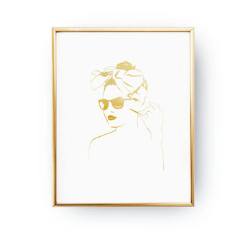 Pin Up Girl Print, Makeup Print, Fashion Poster, Real Gold Foil Print, Stylish Woman, Fashion Illustration, Bedroom Decor, Fashion Girl