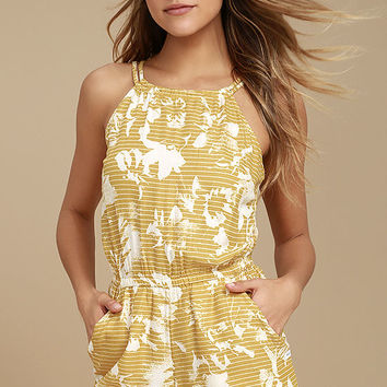 RVCA Hot Water Yellow Print Romper