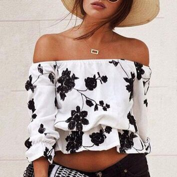 DCCK6HW Fashion Off Shoulder Middle Sleeve Flower Print T-shirt Tops