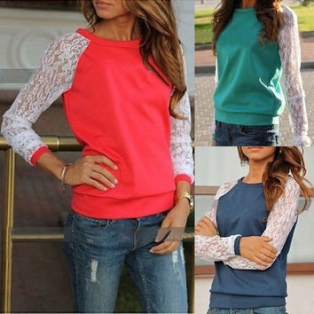 Sexy Women Fashion Spring Summer Long Sleeve Lace Stitching Hoodies Casual Round Neck Floral Blouse Tops Shirt Cotton Sweatshirts T Shirts = 1929888452