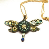 Steampunk Dragonfly necklace, blue and gold tones with watch face, cogs and gears, watch parts jewellery, insect jewellery, unique