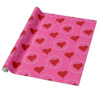 Happy Valentines Day Gift Wrap-Pink Glitter