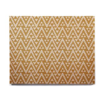 "Amanda Lane ""Geo Tribal Mustard"" Yellow Aztec Birchwood Wall Art"