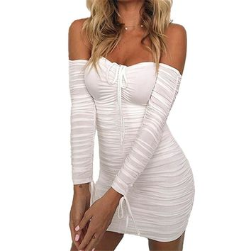 malianna Women Autumn Winter Bandage Dress Women 2018 Sexy Off Shoulder Long Sleeve Slim Elastic Bodycon Party Dresses Vestidos