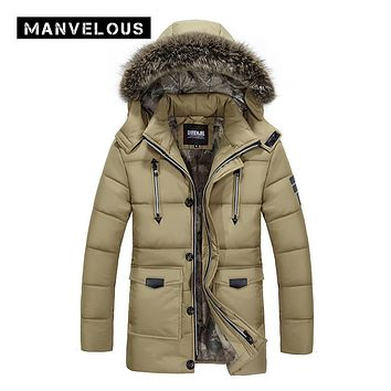 Manvelous Long Down Jacket Men England Style Casual Straight Solid Zipper Long Sleeve Mid-Length Hooded Mens Winter Parkas Coats