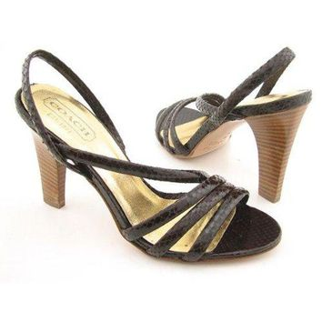 DCCKG2C COACH Beatriz Brown Sandals Strappy Shoes Womens 9