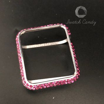 Apple Watch band Case Cover 38mm 42mm Women's 18k Platinum Plated Aluminum Metal Inset Hot Pink Crystal Rhinestone Diamond Case Cover Bezel