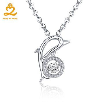 Heart By Heart Animal Pendant Necklace Dolphin & Ball Dancing Gemstone Topaz Silver Brand 925 Sterling Jewelry Fine Jewelry