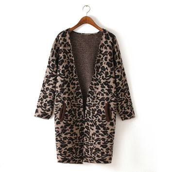 Leopard Cardigan Sweater Plus Size Winter Jacket [9176488388]