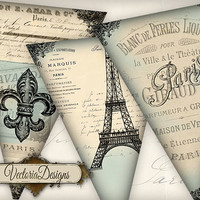 Paris Banner printable party banner instant download digital collage sheet VD0534